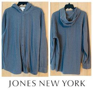 Jones New York Gray Fleece Hoodie. Size 2X